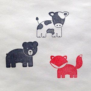 Fox, Bear & Cow rubber stamp set too cute!